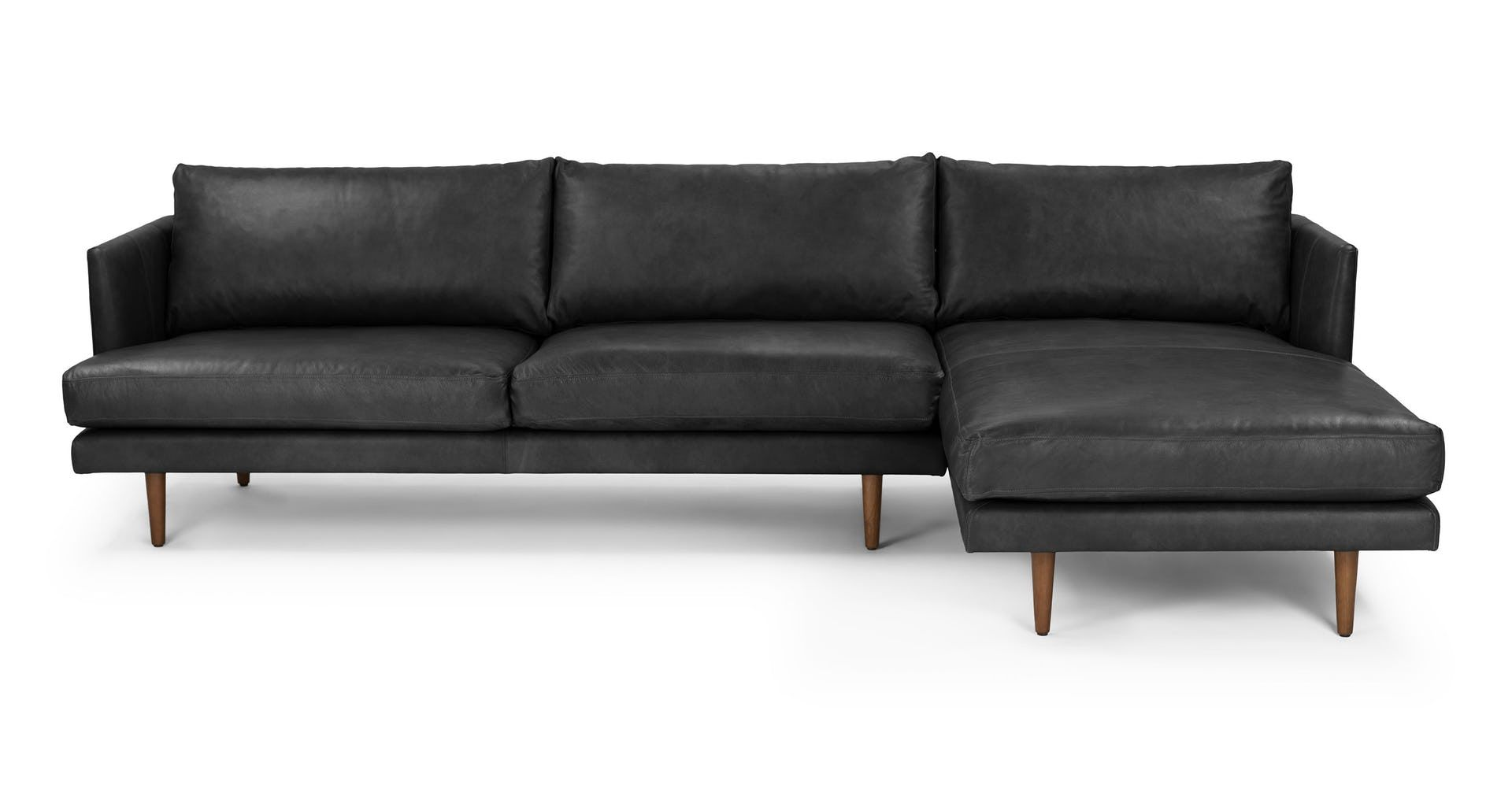 The Burrard Sectional Features Sumptuous Leather Strong Lines And Sinkable Cus Mid Century Modern Sectional Sofa Sectional Sofa Mid Century Modern Sofa Couch