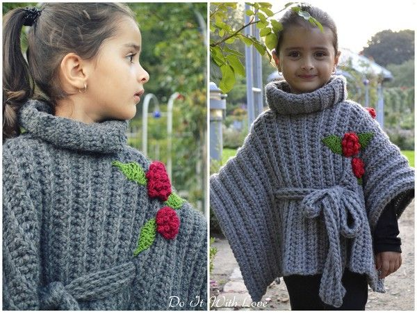 Girls Poncho with turtleneck crochet eBook / Free | Ponchos ...