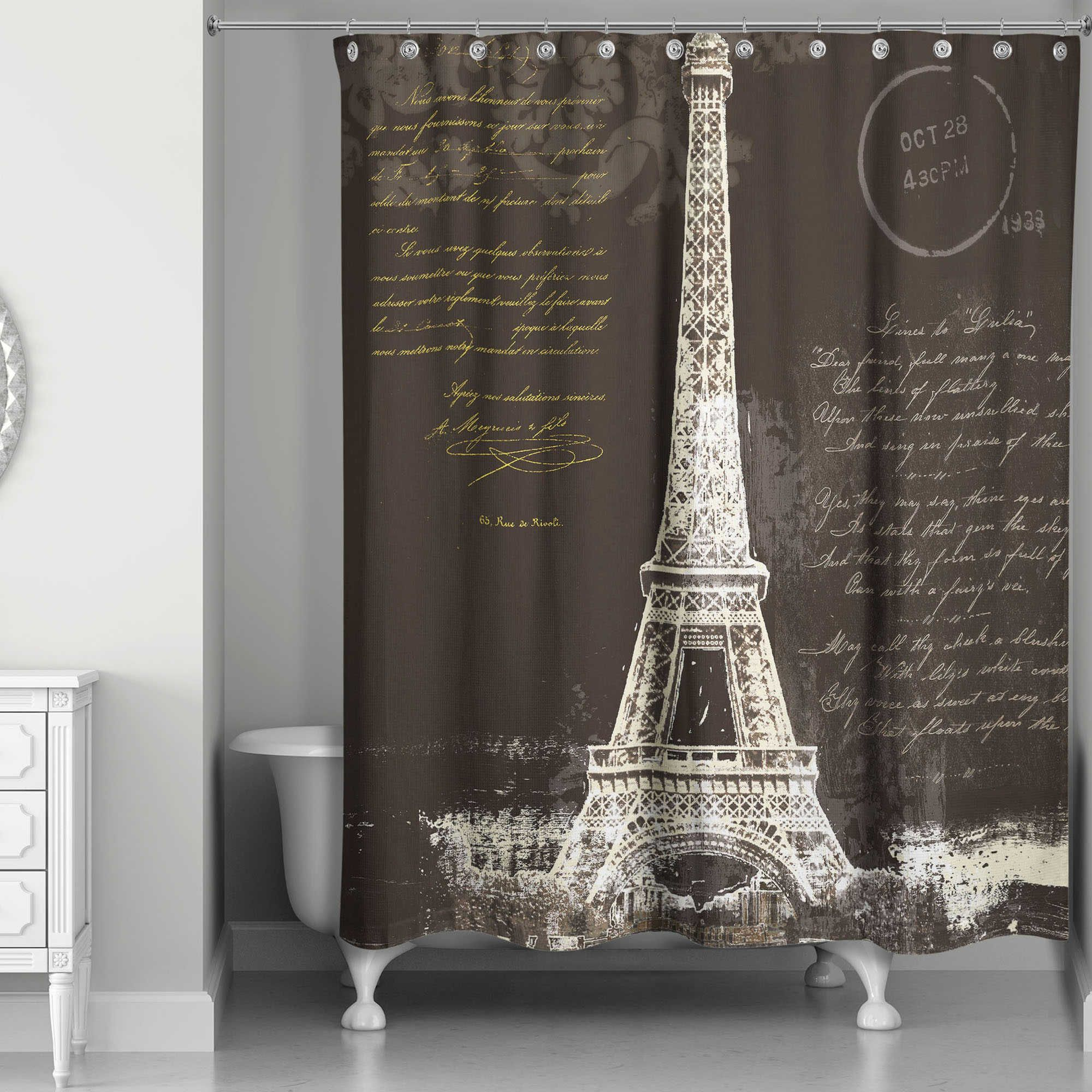 Designs Direct Painterly Paris Shower Curtain In Black White