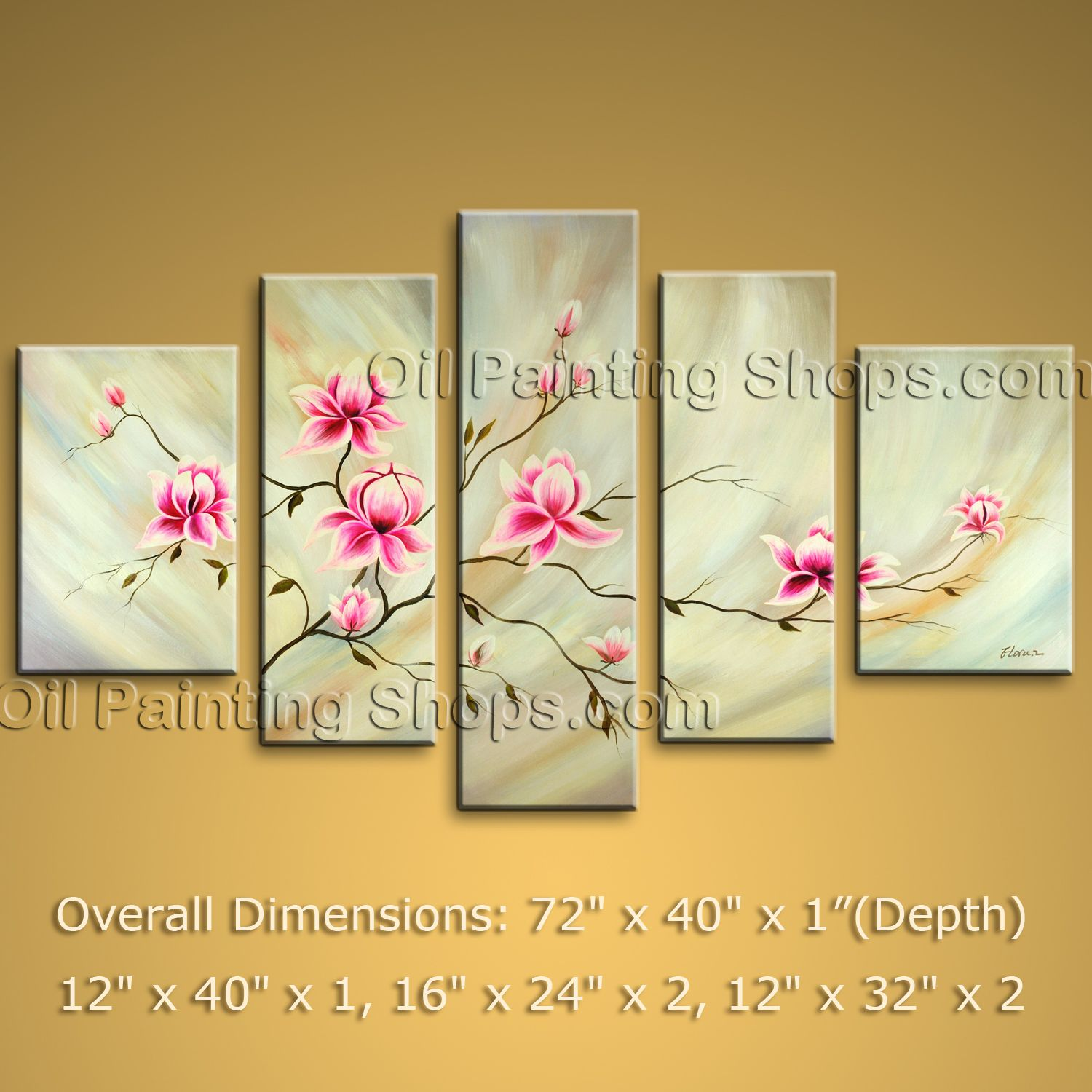 Huge Modern Abstract Painting Tulip Flower Canvas Wall Art Ready To ...