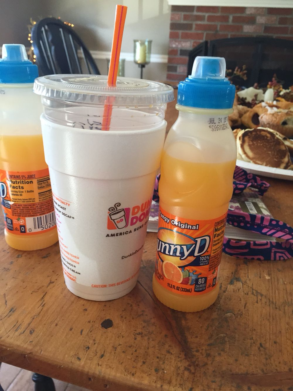 Unit 9 Conservation: Both the Dunkin cup and SunnyD cup both have about the same amount of liquid in it. A child who has not accomplished learning conservation yet may think that the SunnyD has more in it because it looks almost full. However. The Dunkin cup is obviously wider.