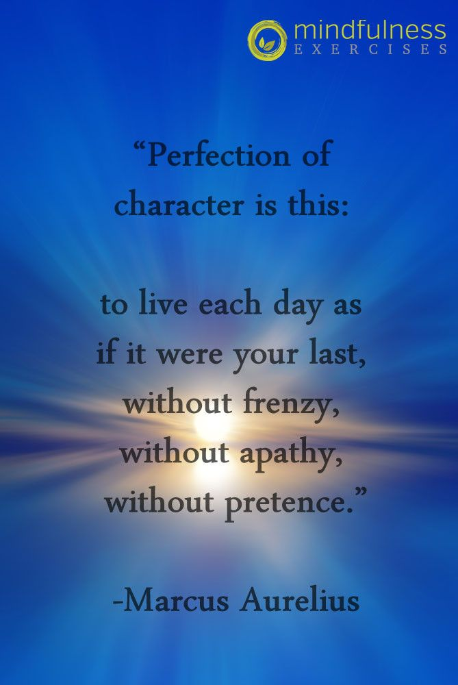 Perfection Of Character Is This To Live Each Day As If It Were Your