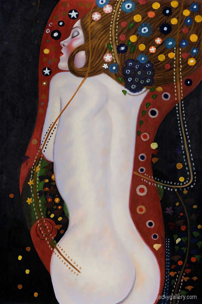 Sea Serpents IV (full view) by Gustav Klimt