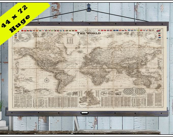 New pull down map or hanging map world map on canvas 1908 44w x pull down map or hanging map world map on canvas 1908 44 gumiabroncs Images