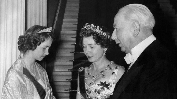 Princess Sofia of Greece wearing the tiara of her grandmother Victoria of Prussia, while her mother wears the ruby parure