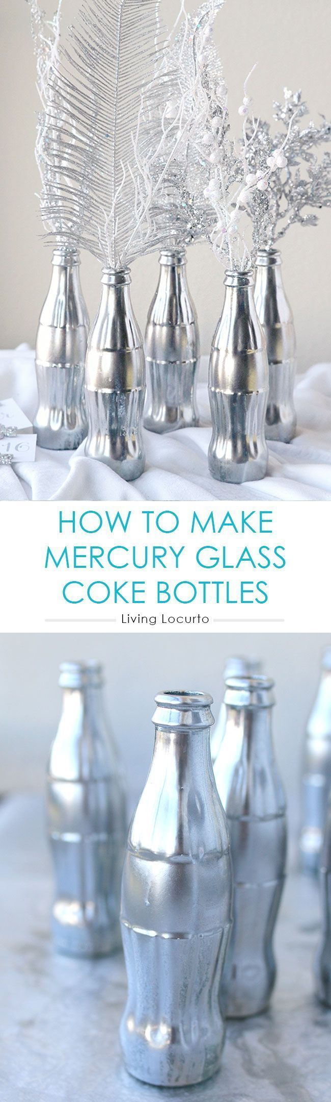 How to Make a Mercury Glass Coke Bottles. Easy DIY Craft Idea for Coca-Cola bottles. These would be great as a holiday centerpiece in your home! Silver home decor ideas.