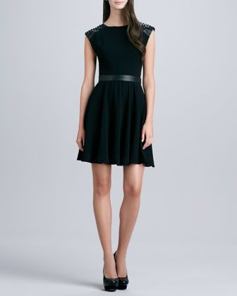 Kerry Stud-Shoulder Dress by Alice + Olivia at Neiman Marcus.