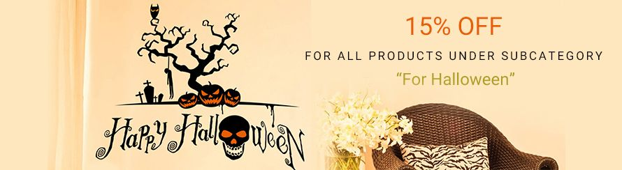 "15% off for all products under subcategory ""For Halloween"""