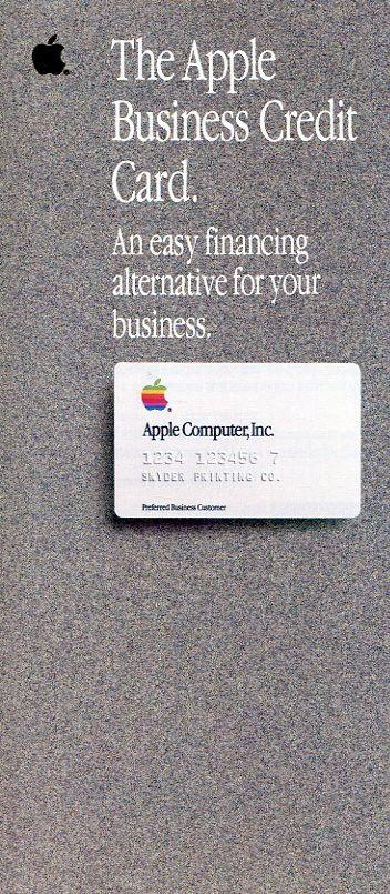 "VINTAGE (1986) APPLE  BROCHURE: ""THE APPLE BUSINESS CREDIT CARD"" W/APPLICATION Q"