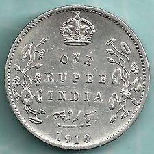 British India 1910 King Edward Vii One Rupee Rare Variety Silver Coin Coins King Edward Vii Silver Coins