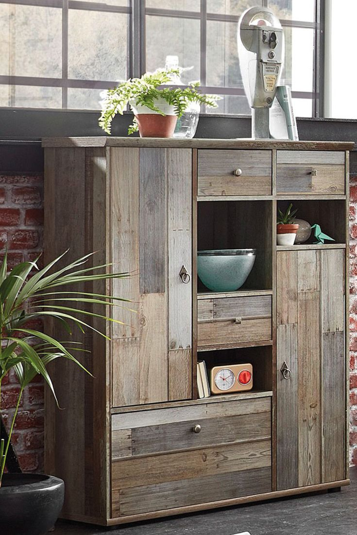 rustikales highboard bonanza im coolen vintage look kommt das stylische highboard bonanza. Black Bedroom Furniture Sets. Home Design Ideas