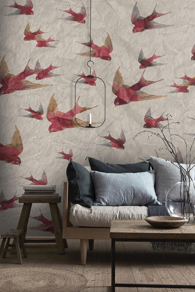 Cute Pastel Tones Sparrow Wallpaper Vintage Wall Mural Living Etsy Wallpapers Vintage Vintage Walls Wallpaper