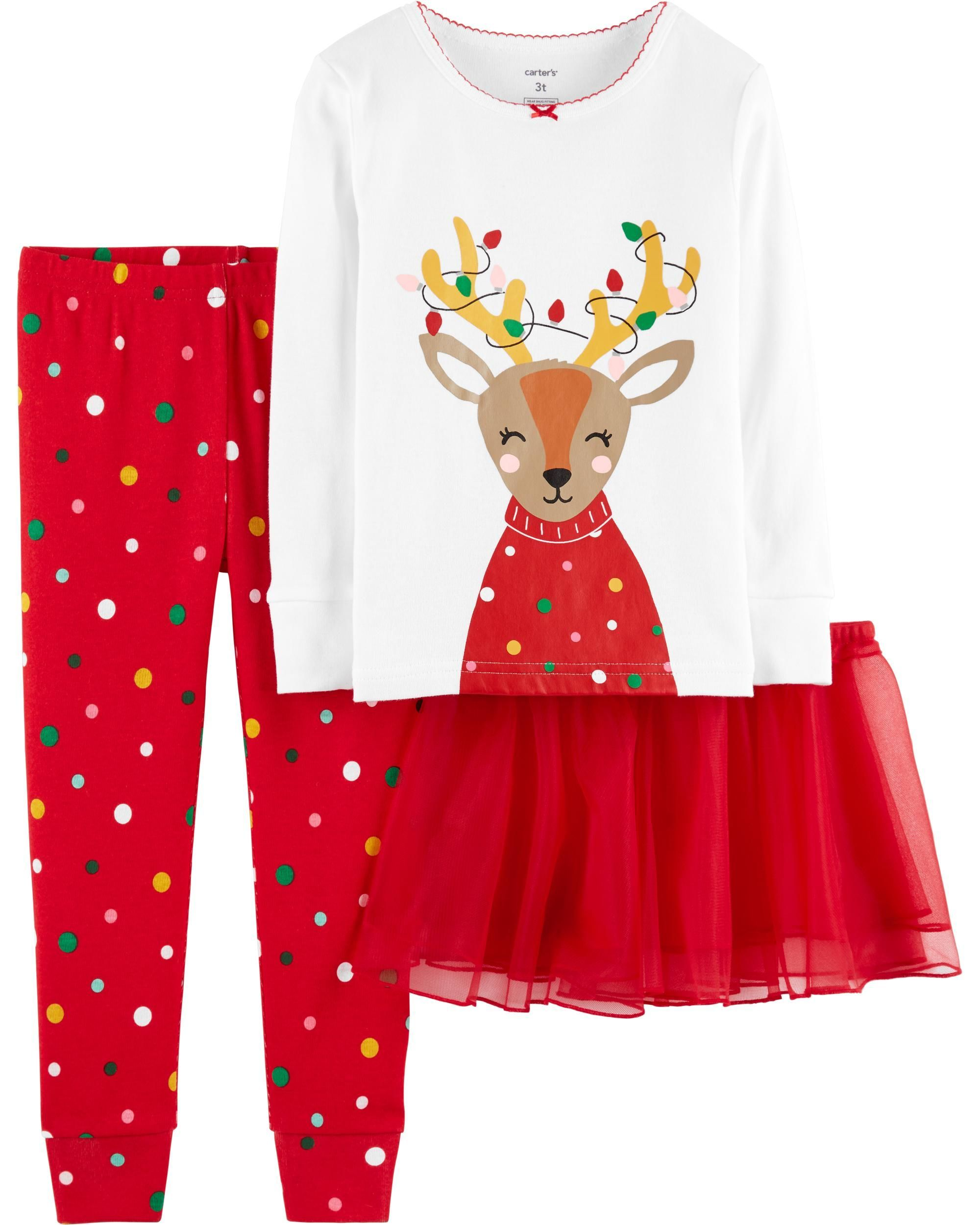 5b2728607 3-Piece Christmas Reindeer Snug-Fit Cotton PJs