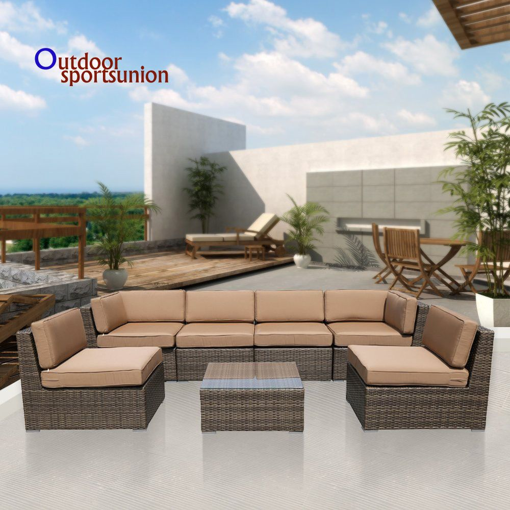 Sunbrella Outdoor Furniture Set Patio 7pcs Wicker Rattan Sofa Sectional Coffee Unbranded