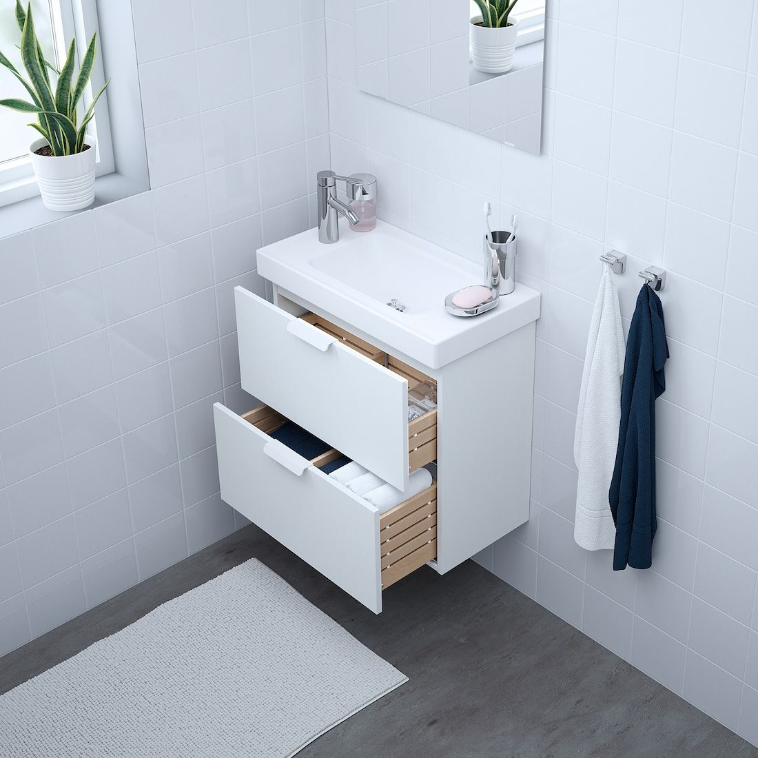 Godmorgon Hagaviken Sink Cabinet With 2 Drawers White Dalskar