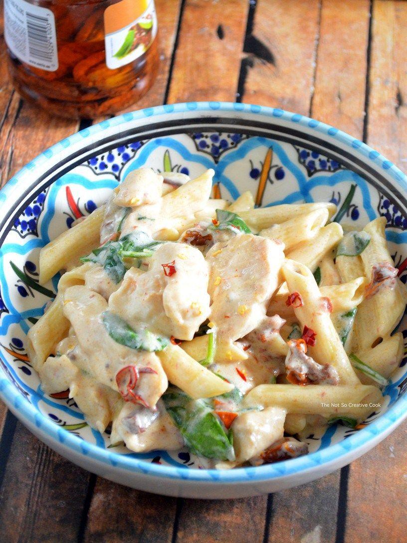 chicken and sun dried tomato pasta with mozzarella sauce recipe pasta mozzarella pasta on hebbar s kitchen white sauce pasta id=59202