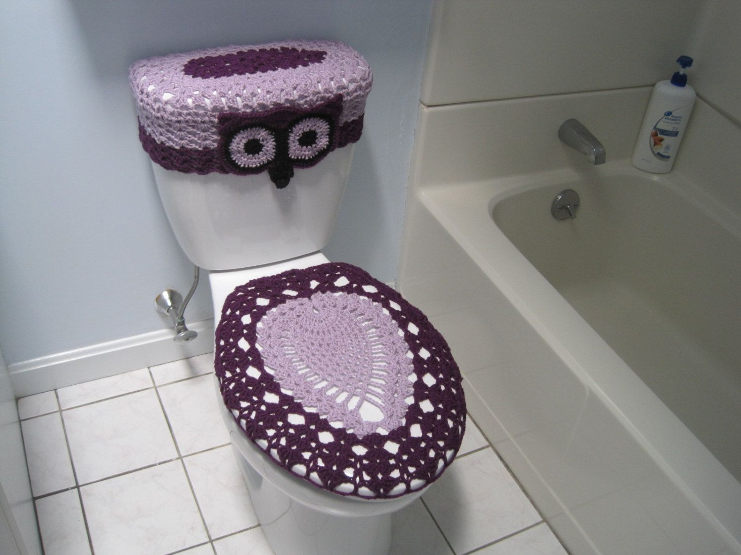 Crochet Set Of Owl Toilet Tank Lid And Toilet Seat Covers Pale