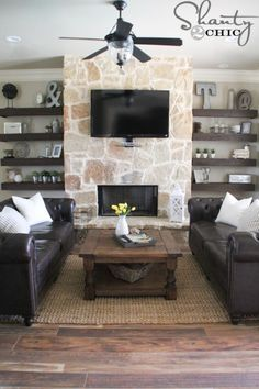 Living Room With Fireplace And Helves diy floating shelves for my living room | shelves, living rooms