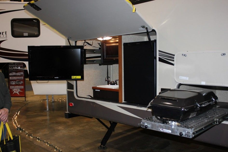 Outstanding Rv Travel Trailers With Outside Kitchen And Swing Out Lcd Tv Mount Brackets Also Small Kitchen Ref Diy Outdoor Kitchen Single Doors Outdoor Kitchen