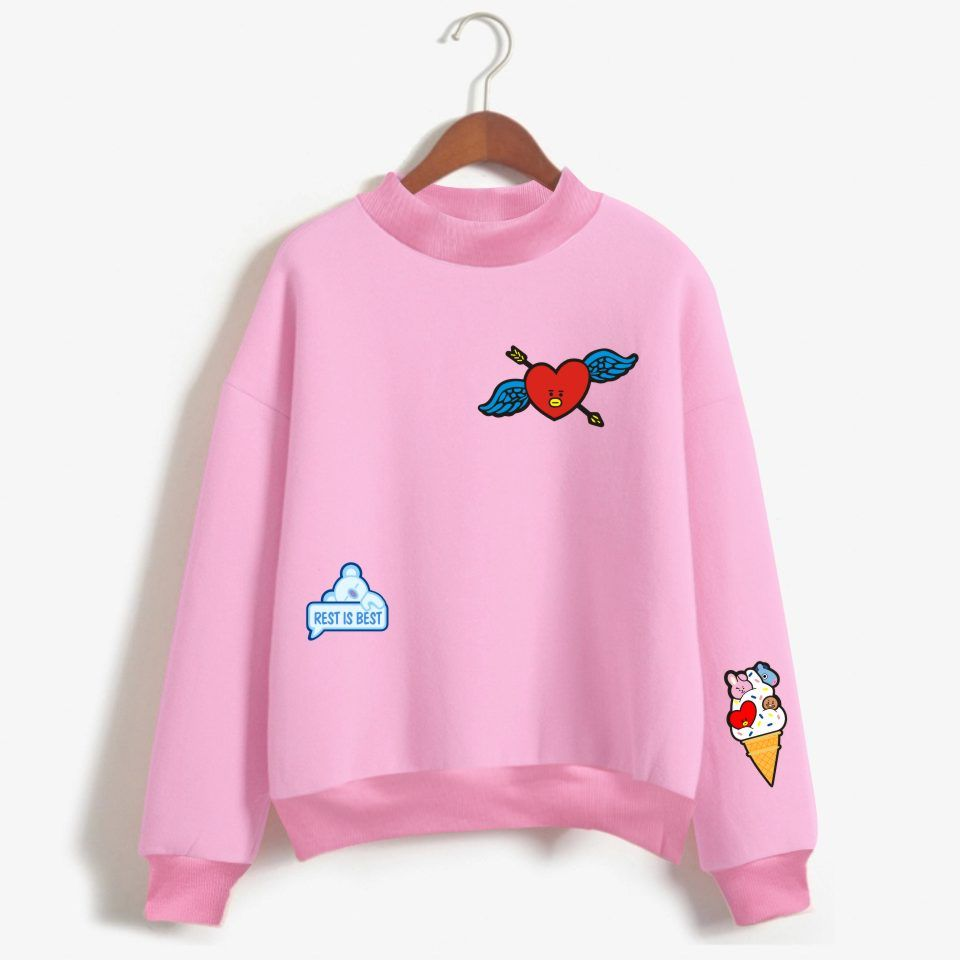 77eb66733 LUCKYFRIDAYF BTS BT21 Kpop Love Yourelf Oversize Turtlenecks Hoodies  Sweatshirts Women Kawaii Female Anime Sweatshirts Clothes-in Hoodies &  Sweatshirts from ...
