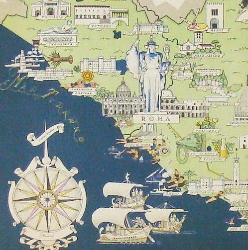Rome Italy Antique Map Italy Original Art Deco Picture Map of
