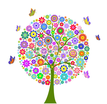 Arbol Colores Flores Mariposas Trees Tree Of Life Artwork