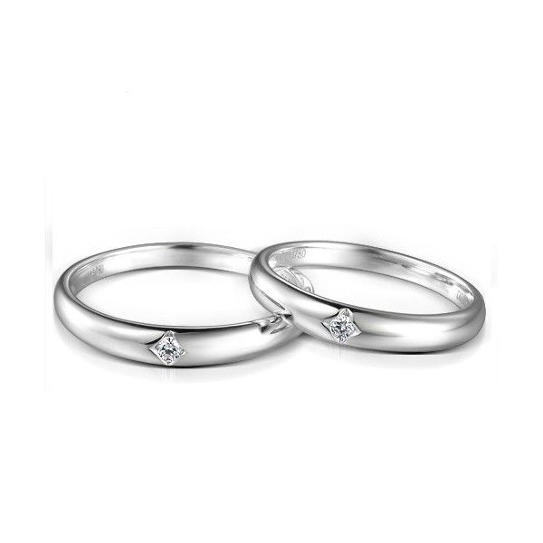 Inexpensive Couples Matching Diamond Wedding Ring Bands on Silver