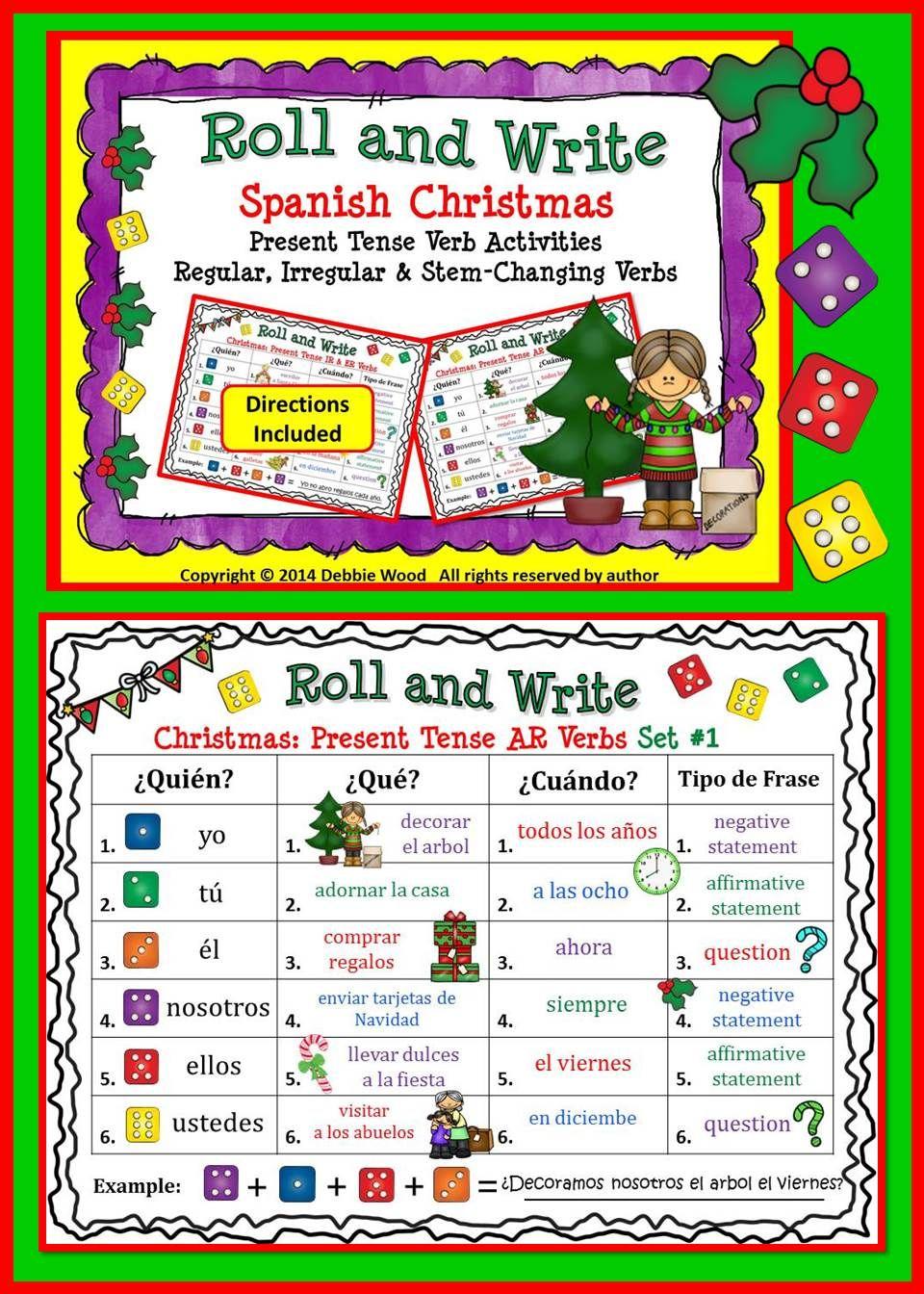 present 5 år Spanish Christmas Present Tense Verb Activities | Spanish  present 5 år