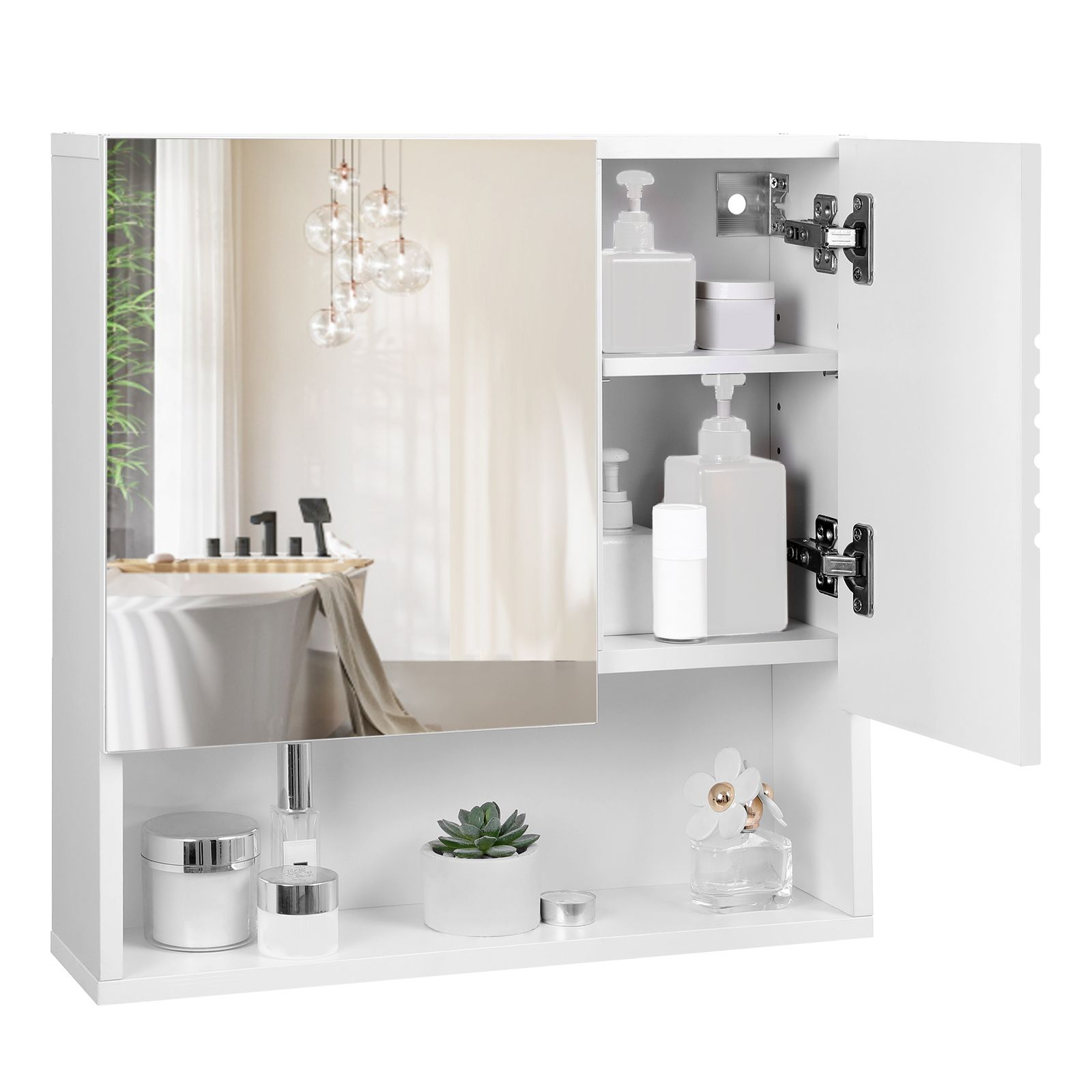 Vasagle Spiegelschrank Weiss Aus Holz 54 X 15 X 55 Cm Furs Bad Wandschrank Badschrank In 2020 Spiegelschrank Wandschrank Schrank