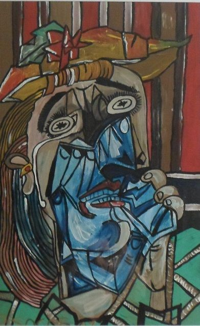 La donna piangente: acrilico su carta mis 30x40 c.ca. La mia liberissima interpretazione di un dipinto di Picasso.
