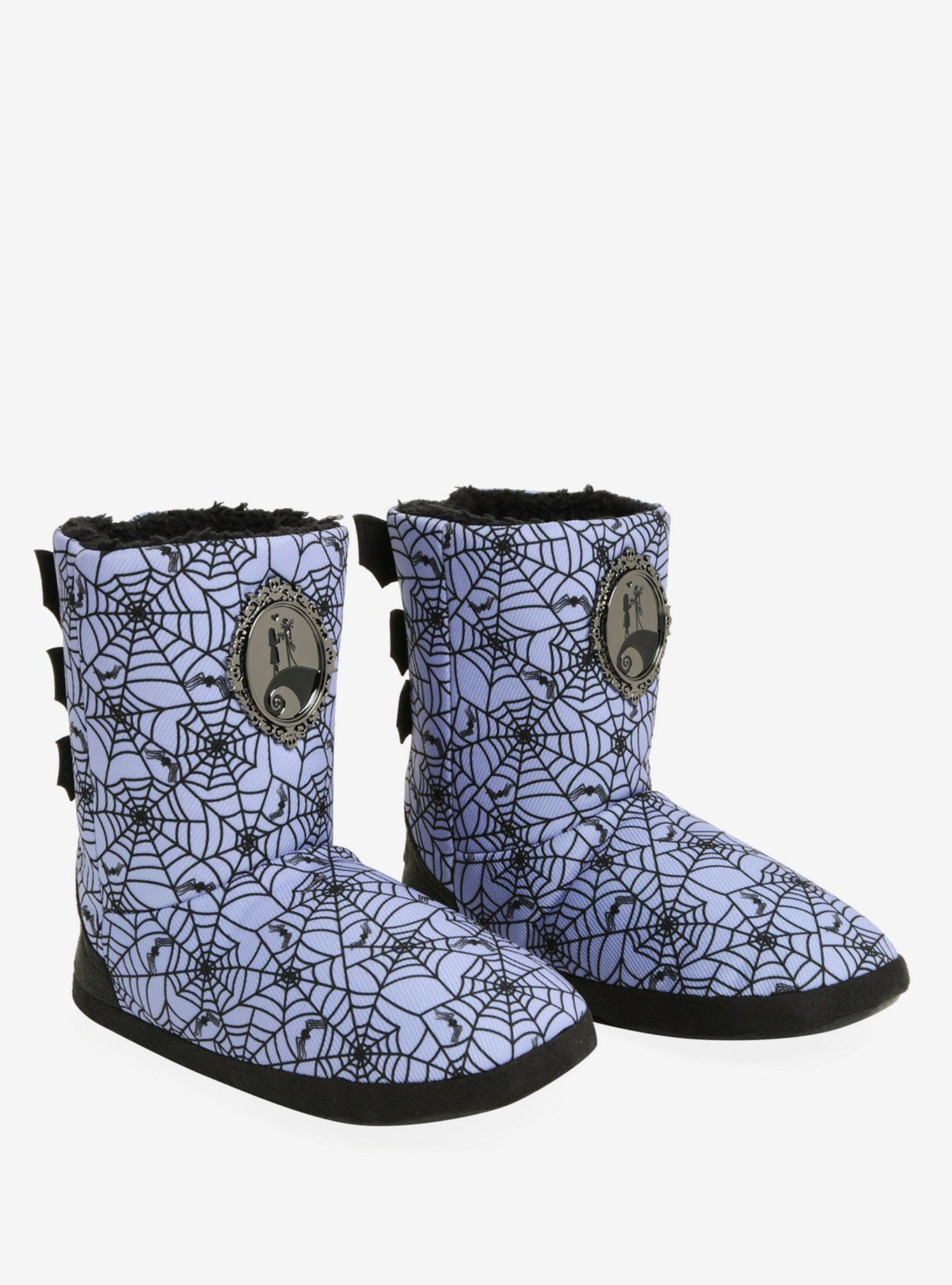 The Nightmare Before Christmas Purple Spiderweb Slipper Boots | The ...