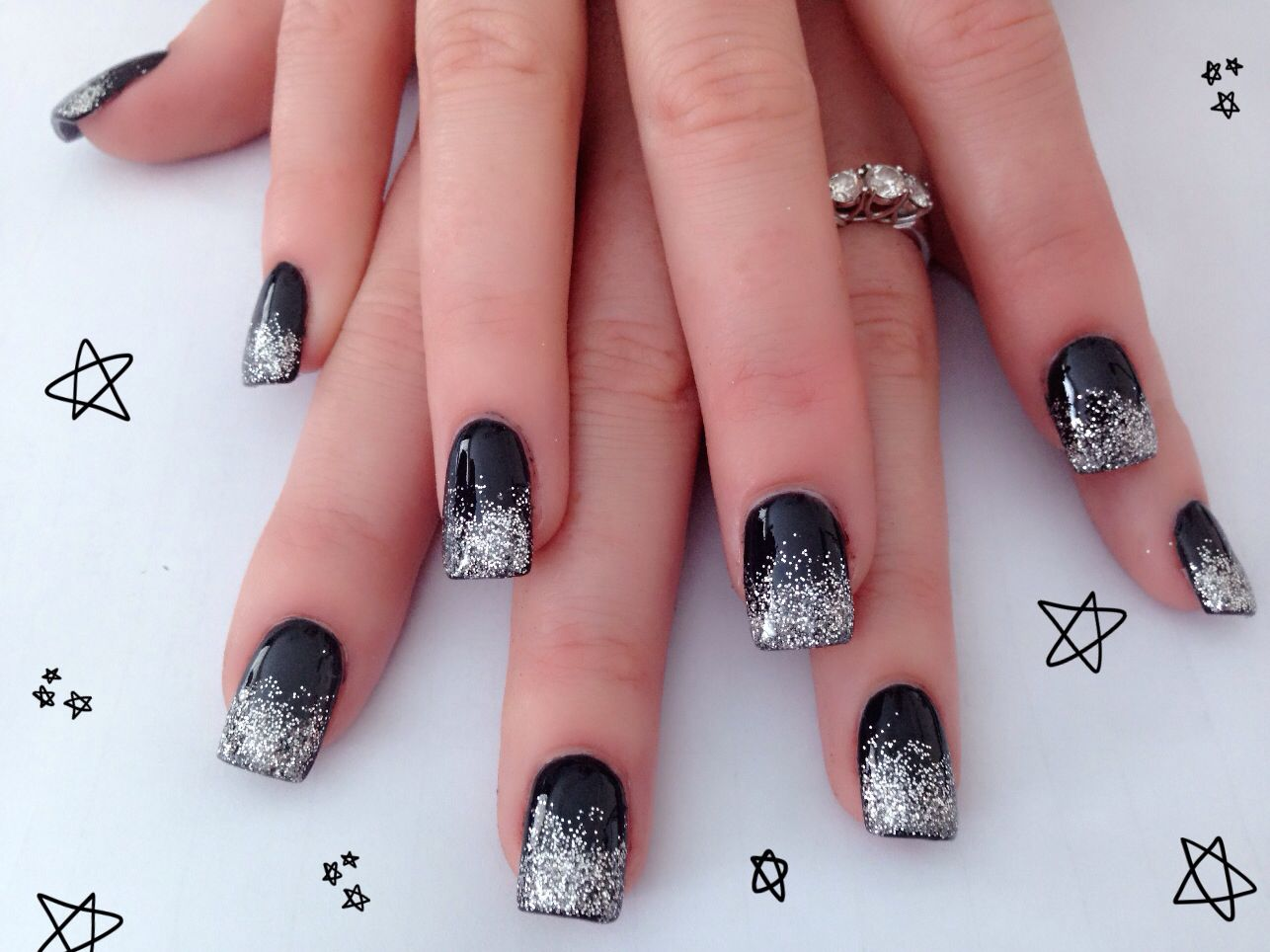 Black & Silver Acrylic Nail Design - Black & Silver Acrylic Nail Design Nails By Me Pinterest