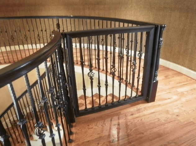 Bought the gate for tri-level lower steps with 1 flat wall and step extended past opposite wall, so was able to configure the 3-piece gate around the step to attach to opposite perpendicular wall.