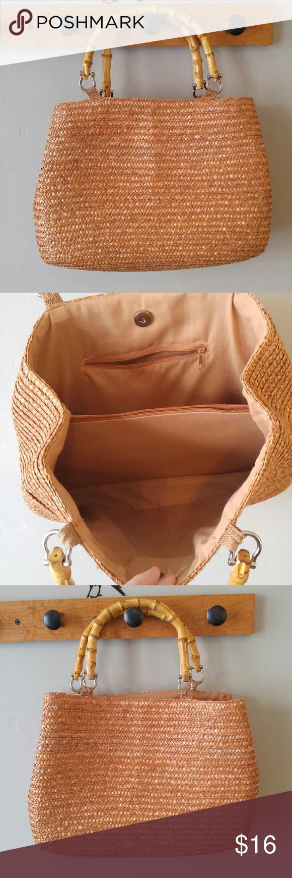 587fb6e5e2120b Rose gold straw tote bag bamboo handles This pretty bag is made of woven  straw that is a coppery rose gold color! It has bamboo handles. The top  snaps shut.