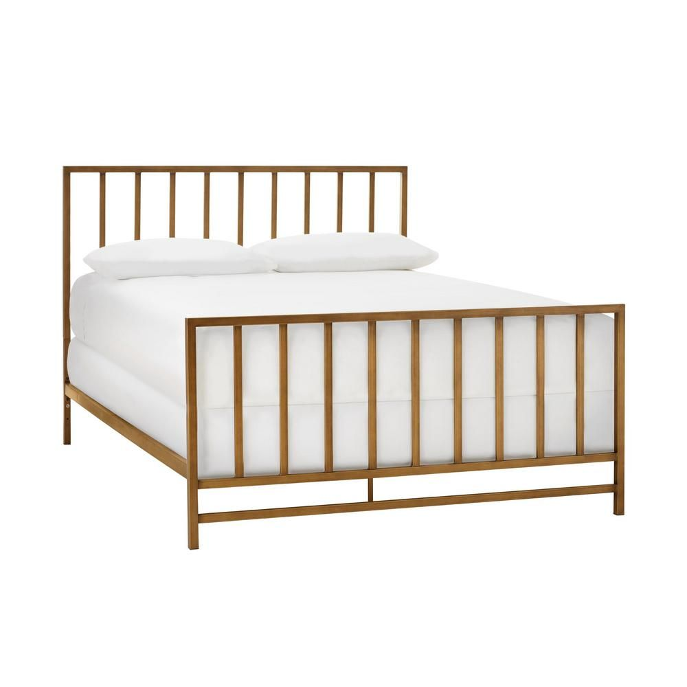 Stylewell Zandria Brushed Gold Metal Queen Bed With Slats 63 19