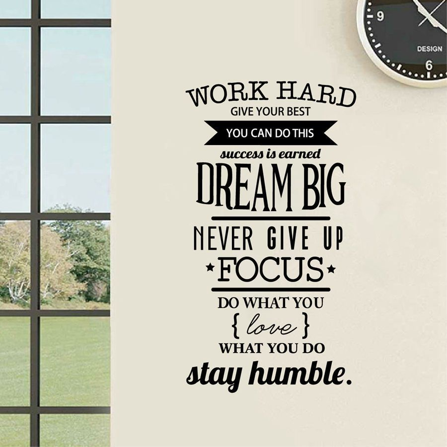 Work Hard Removable Wall Decal Positive Quote Vinyl Sticker Office Home Decor Unbranded Words