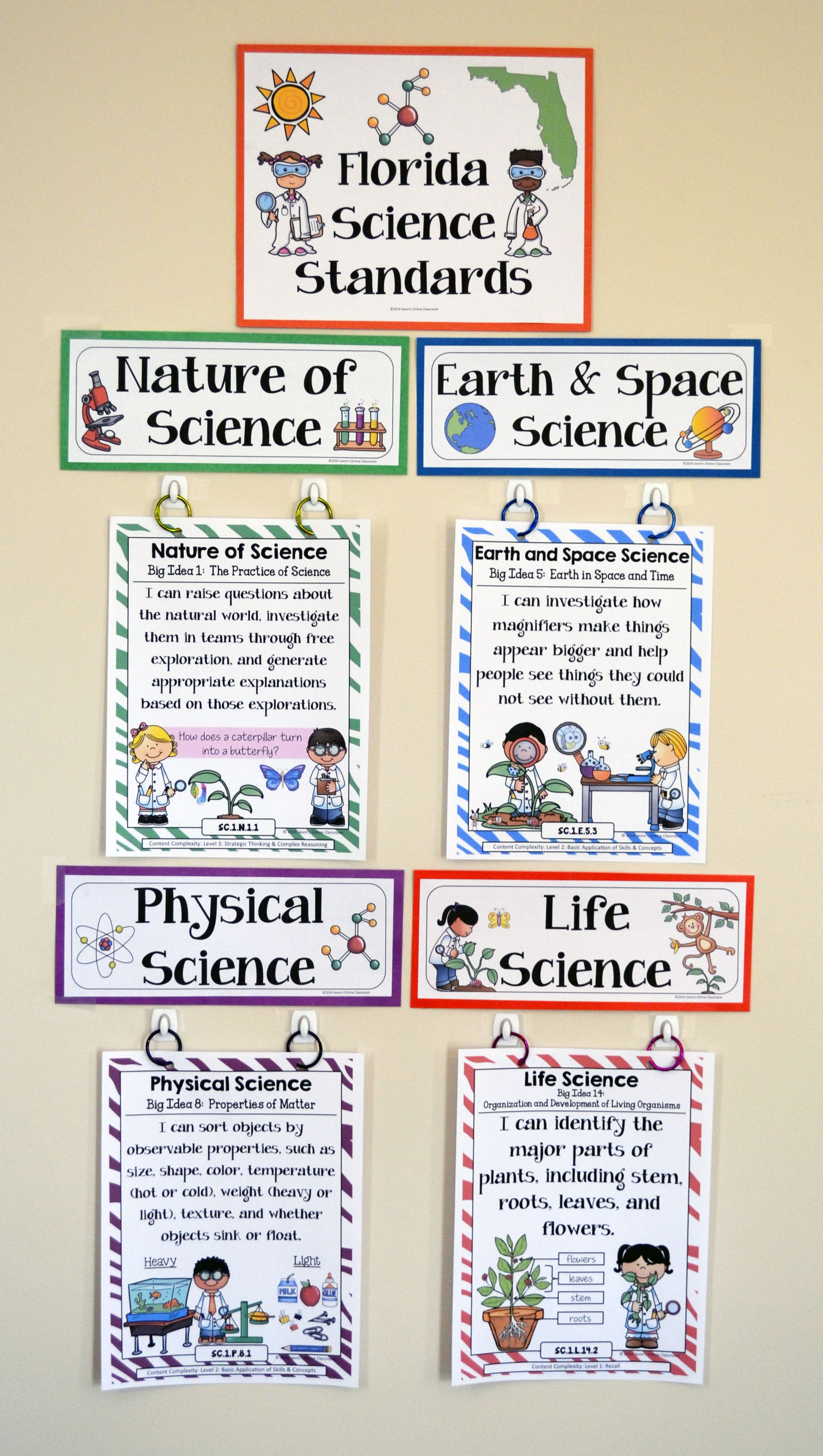1st Grade Florida Science Standards - I Can Statements