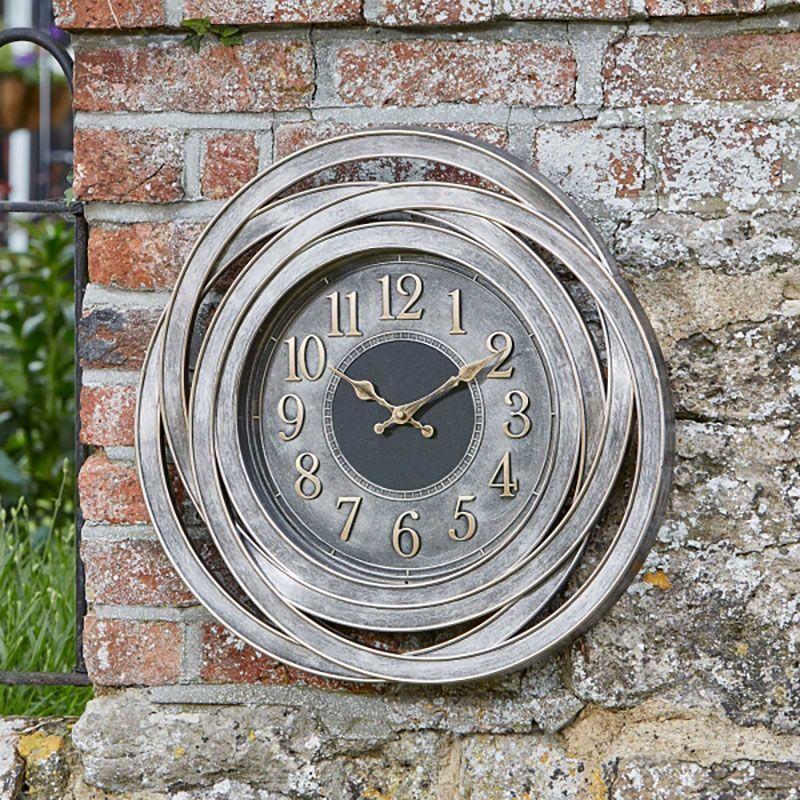 Outdoor Retro Clock Large Numeral Wall Clock For Garden Indoor Metallic Silver Wall Clock Garden Clocks Outdoor Wall Clocks