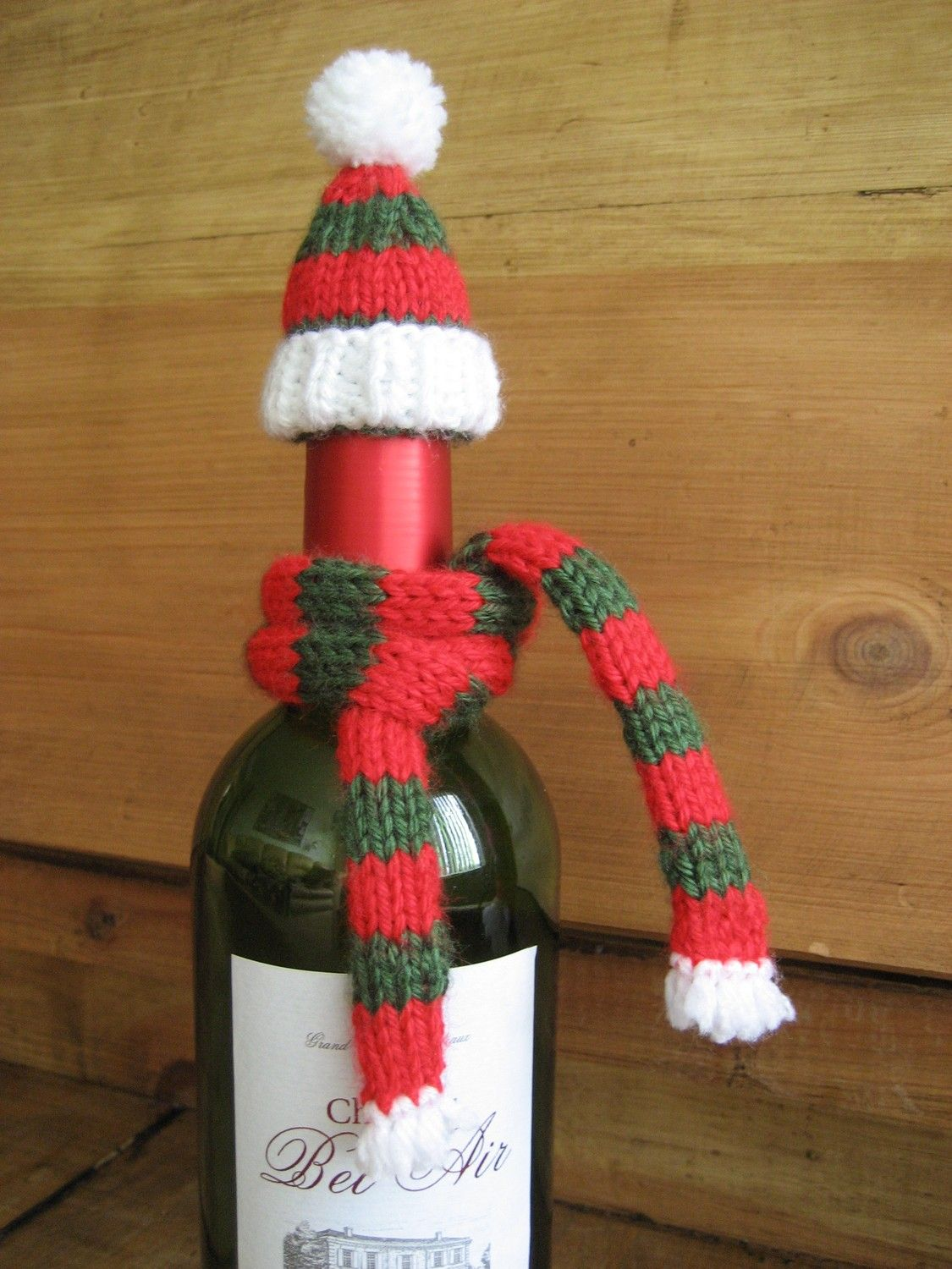 Red And Green Striped Wine Bottle Topper With Scarf Wine Bottle Topper Crafts Bottle Toppers