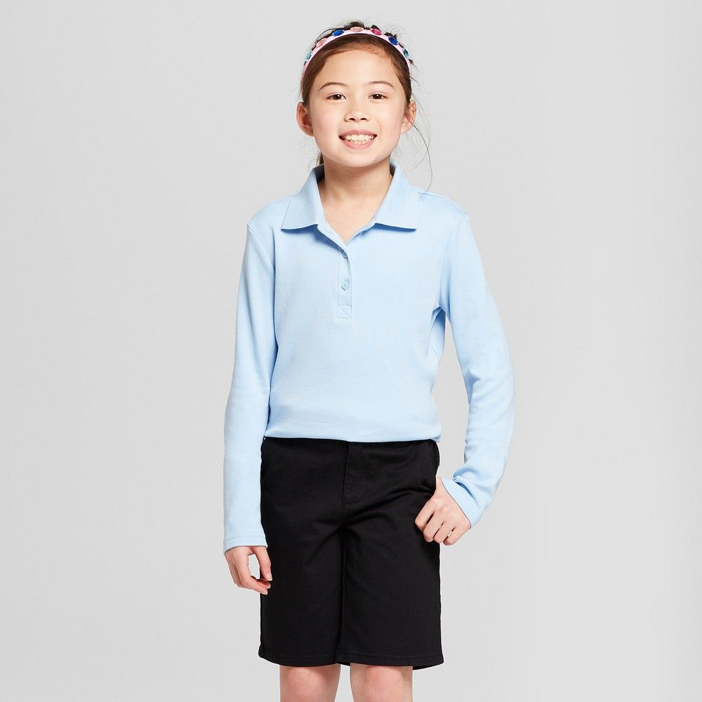 1b31dc60 A must-have for school uniforms this Long-Sleeve Interlock Uniform Polo  Shirt from Cat and Jack keep her comfy in the classroom or on the  playground.