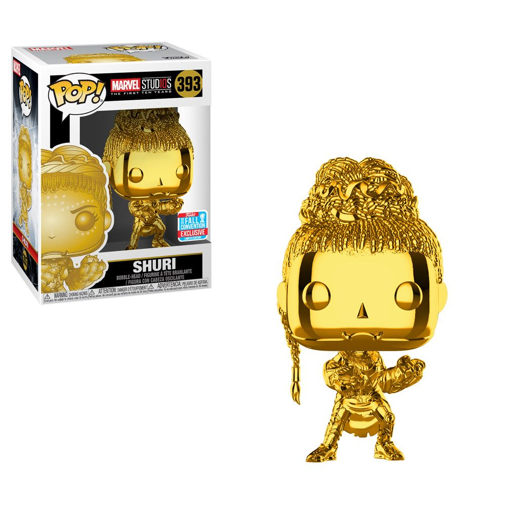 Pop Marvel Studios The First Ten Years Shuri Gold Chrome Fall Convention 2018 Gamestop Marvel Studios Marvel Funko