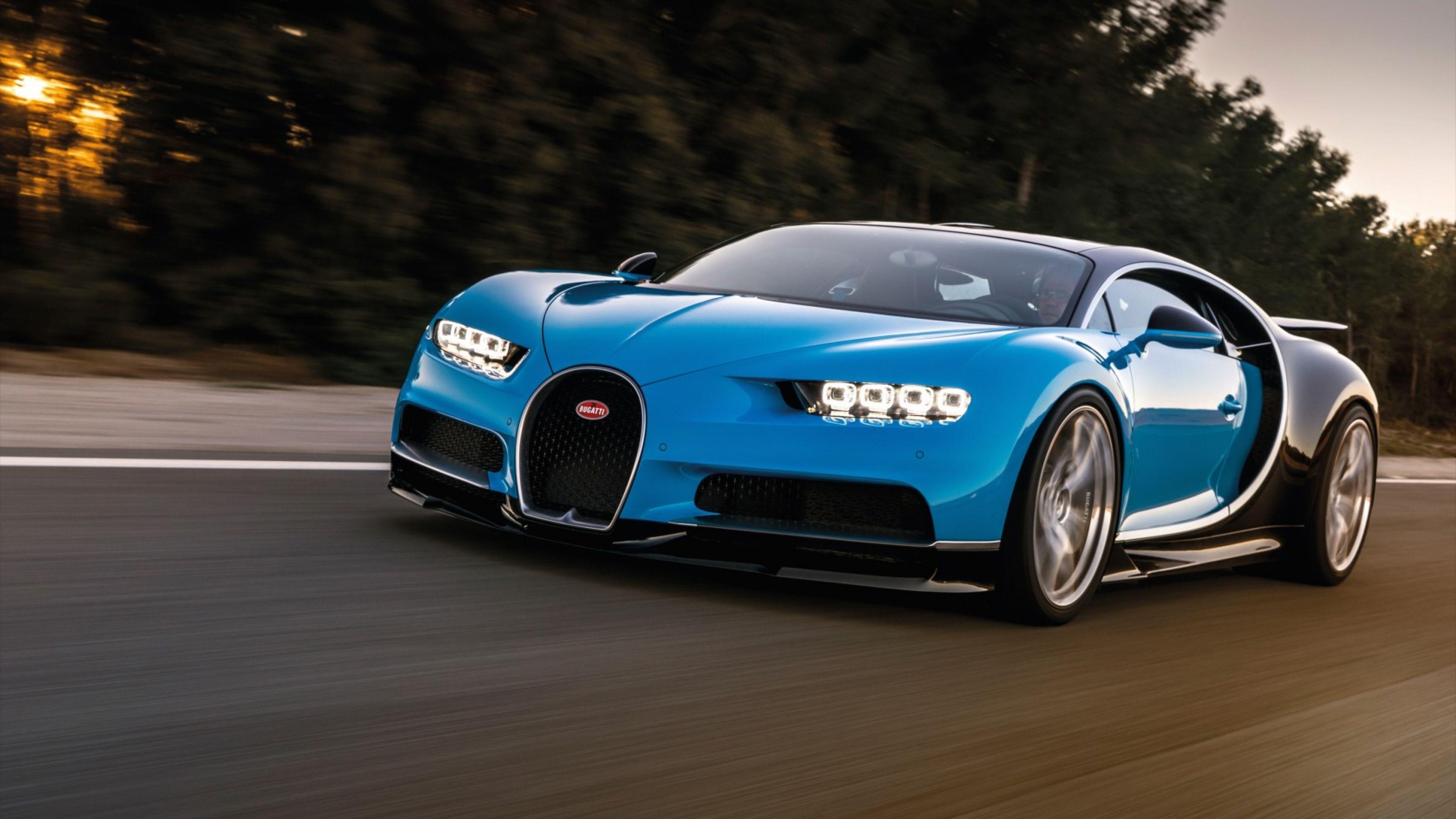 3840x2160 Wallpaper Bugatti Chiron Blue Side View Bugatti