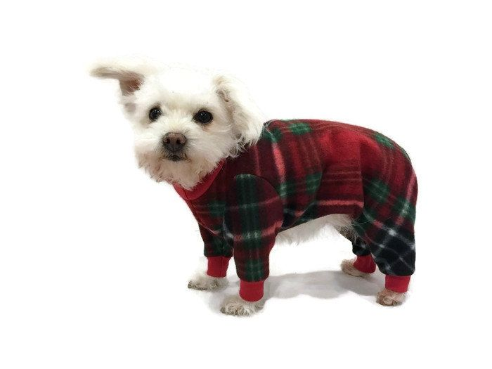 Christmas Pajamas For Dog.New Red And Green Plaid Fleece Dog Pajamas Dog Clothes Pet