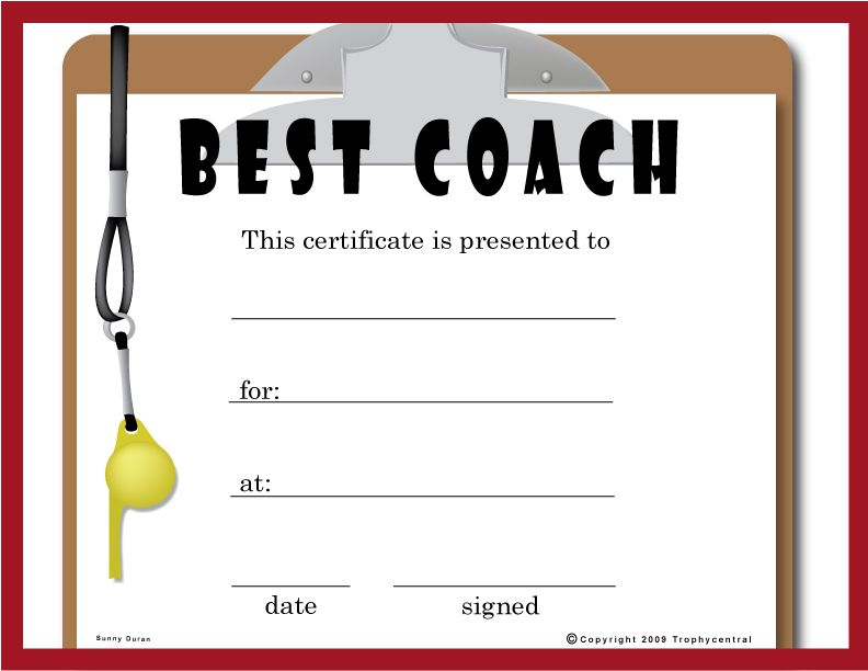 Free Coach Certificates   Certificates  Awards