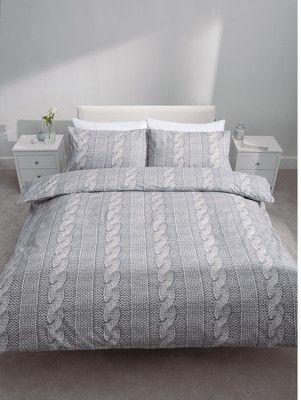 So Soft Cable Knit Duvet Cover And Pillowcase Set