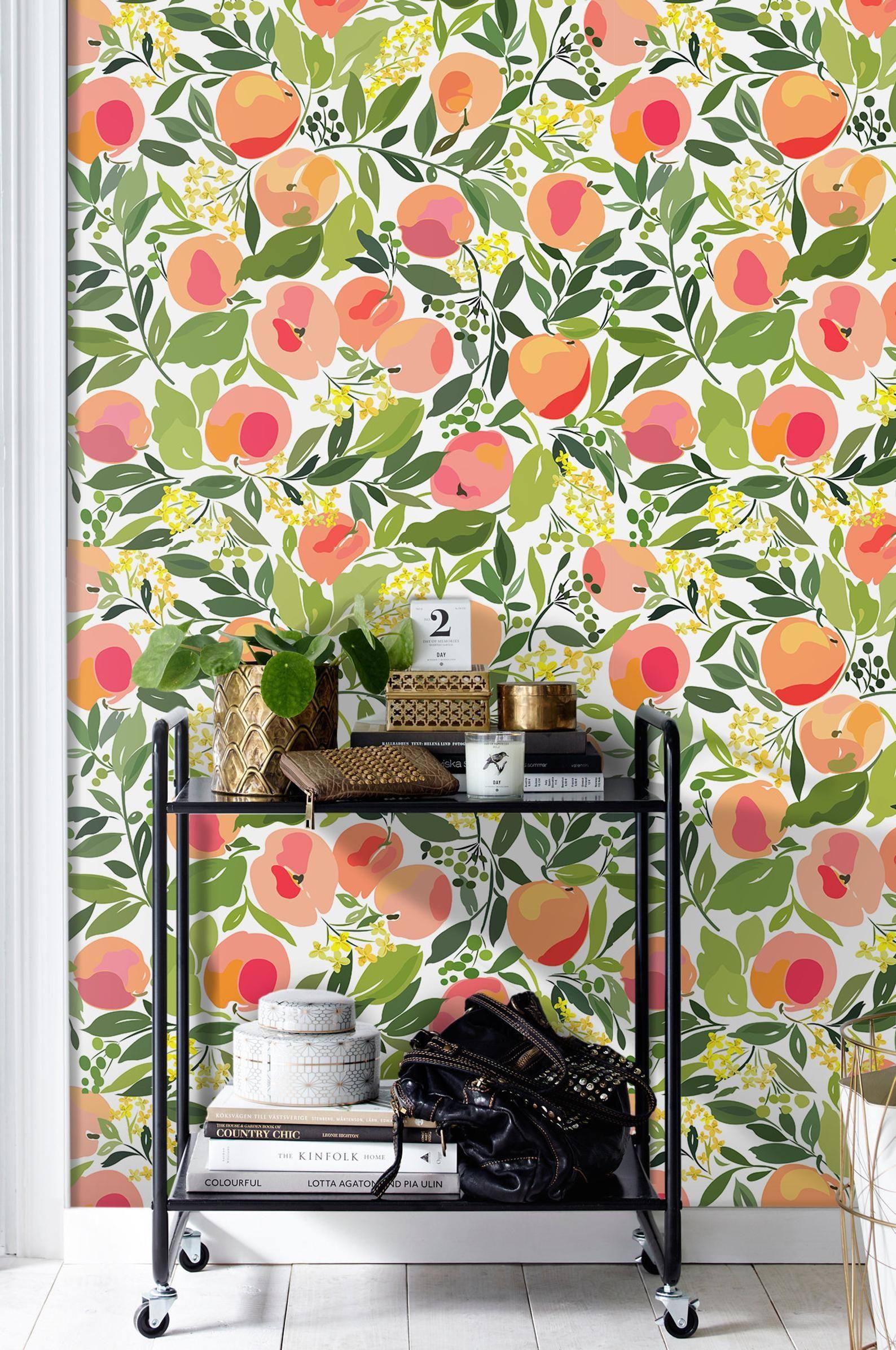 Peach Removable Wallpaper Green Wall Mural Reusable Etsy Removable Wallpaper Mural Green Wall