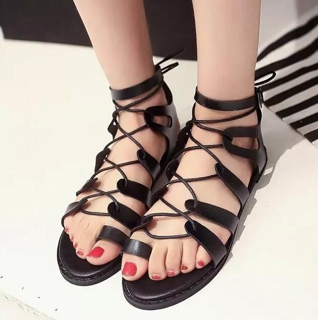 afe1c819a9b0 Strappy Roman Goth Gladiator Lace Up Cross Strap Fish Mouth Bandage Sandals