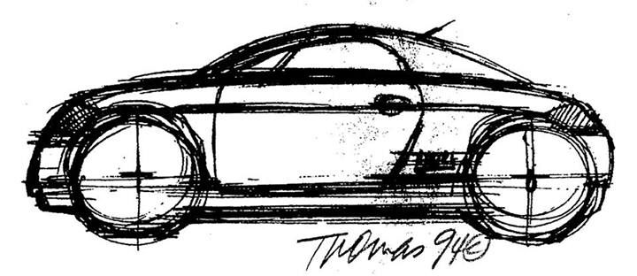 Freeman Thomas' design sketch from 1994 for the Audi TT