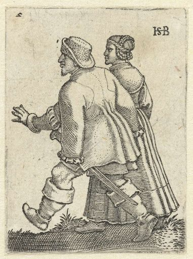 """Dansend boerenpaar"", 1537, Hans Sebald Beham (1500-1550)"