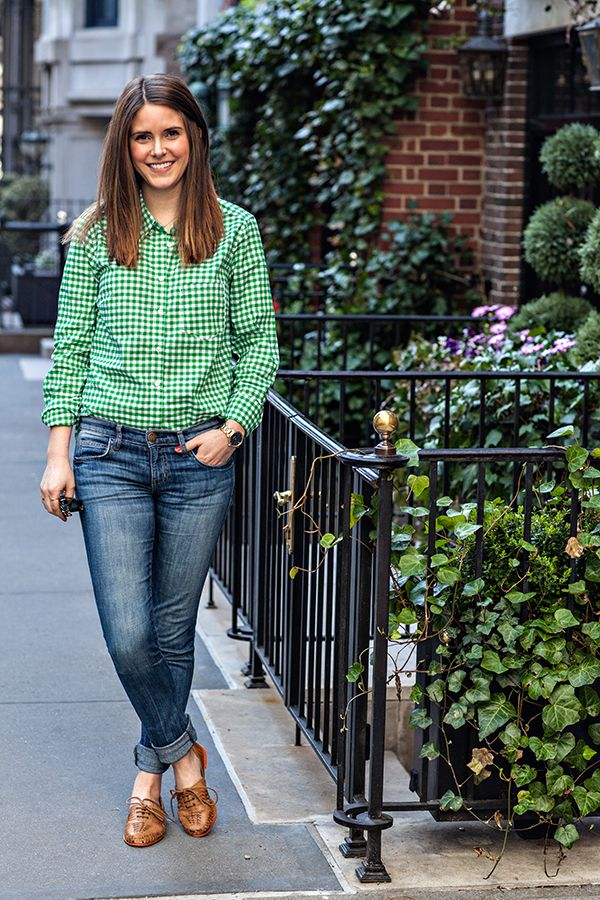 Casual weekend outfit Gap gingham shirt with rolled up jeans.